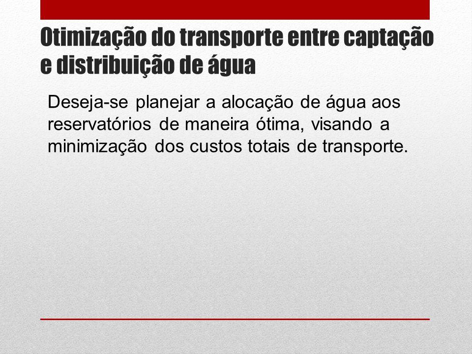 Otimização do transporte entre captação e distribuição de água Deseja-se planejar a alocação de água aos reservatórios de maneira ótima, visando a minimização dos custos totais de transporte.
