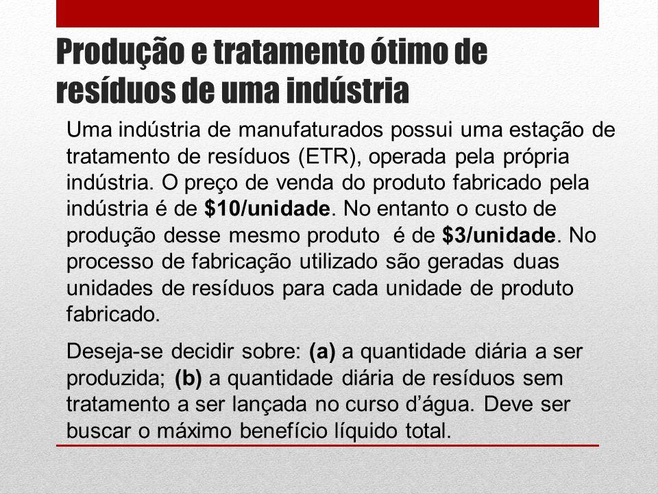 Produção e tratamento ótimo de resíduos de uma indústria Uma indústria de manufaturados possui uma estação de tratamento de resíduos (ETR), operada pela própria indústria.