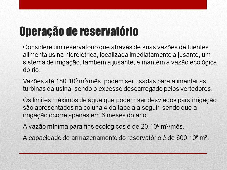 Operação de reservatório Considere um reservatório que através de suas vazões defluentes alimenta usina hidrelétrica, localizada imediatamente a jusan