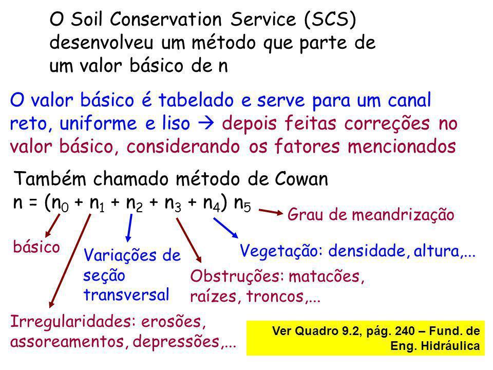 O Soil Conservation Service (SCS) desenvolveu um método que parte de um valor básico de n O valor básico é tabelado e serve para um canal reto, unifor