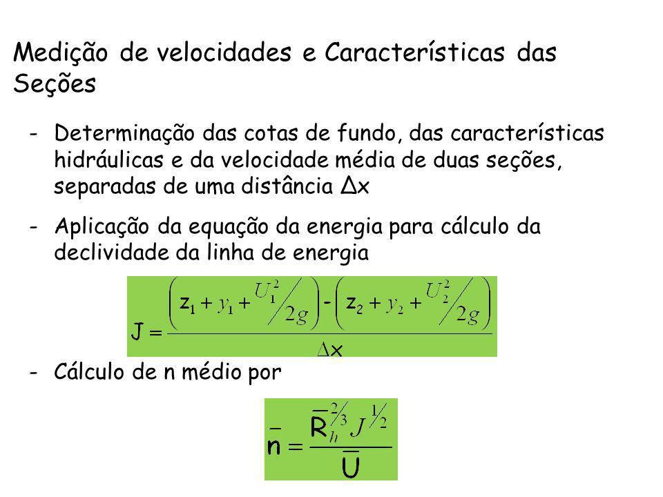 Medição de velocidades e Características das Seções -Determinação das cotas de fundo, das características hidráulicas e da velocidade média de duas se