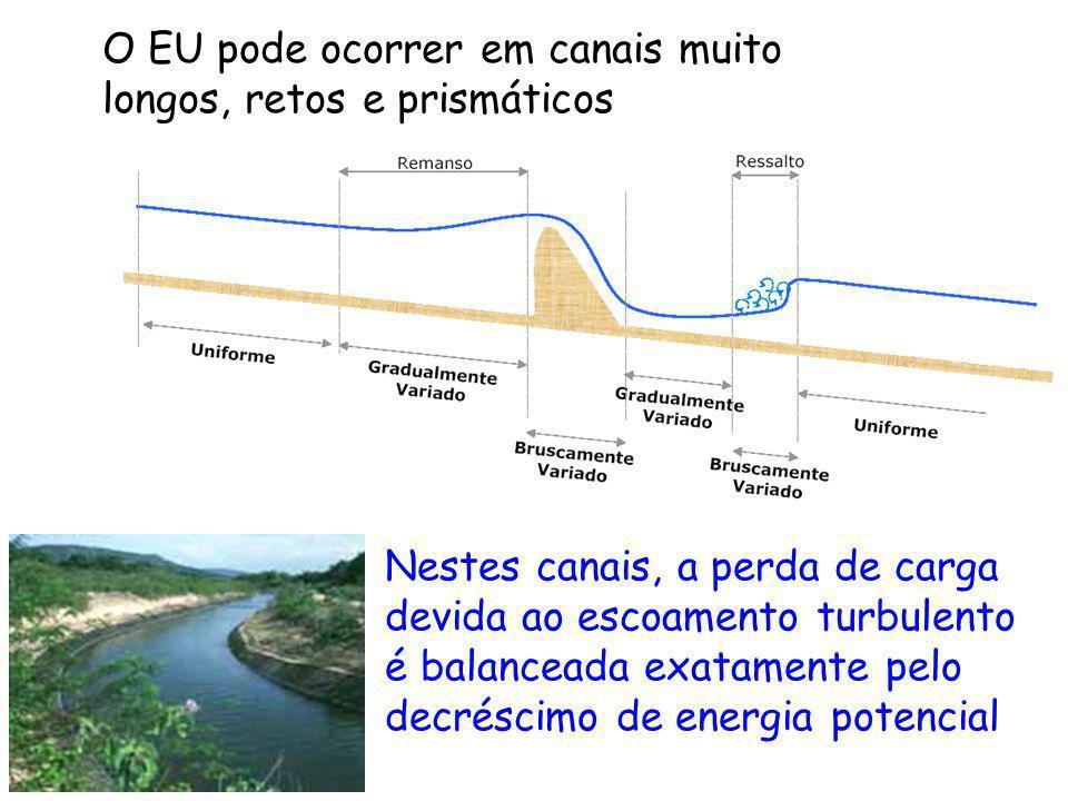 O EU pode ocorrer em canais muito longos, retos e prismáticos Nestes canais, a perda de carga devida ao escoamento turbulento é balanceada exatamente
