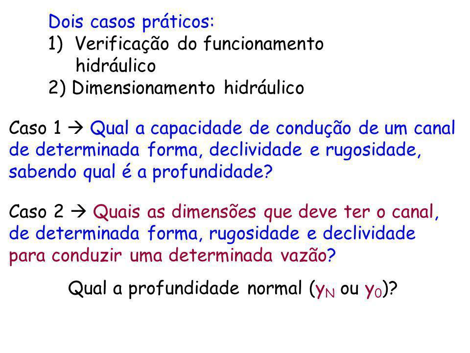 Dois casos práticos: 1)Verificação do funcionamento hidráulico 2) Dimensionamento hidráulico Caso 1 Qual a capacidade de condução de um canal de deter