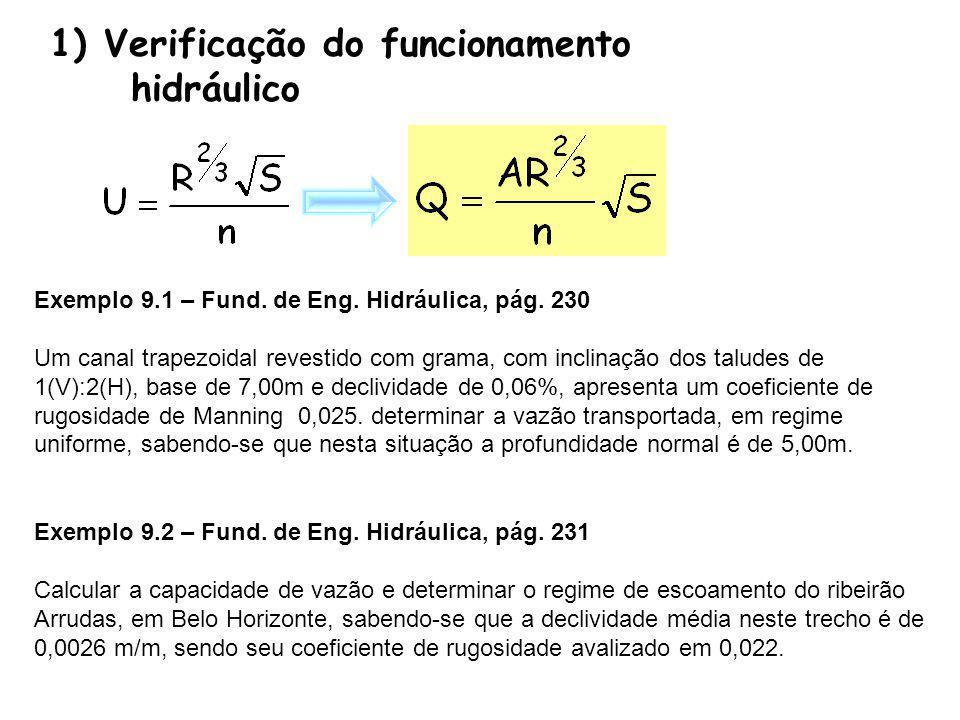 Exemplo 9.1 – Fund. de Eng. Hidráulica, pág. 230 Um canal trapezoidal revestido com grama, com inclinação dos taludes de 1(V):2(H), base de 7,00m e de