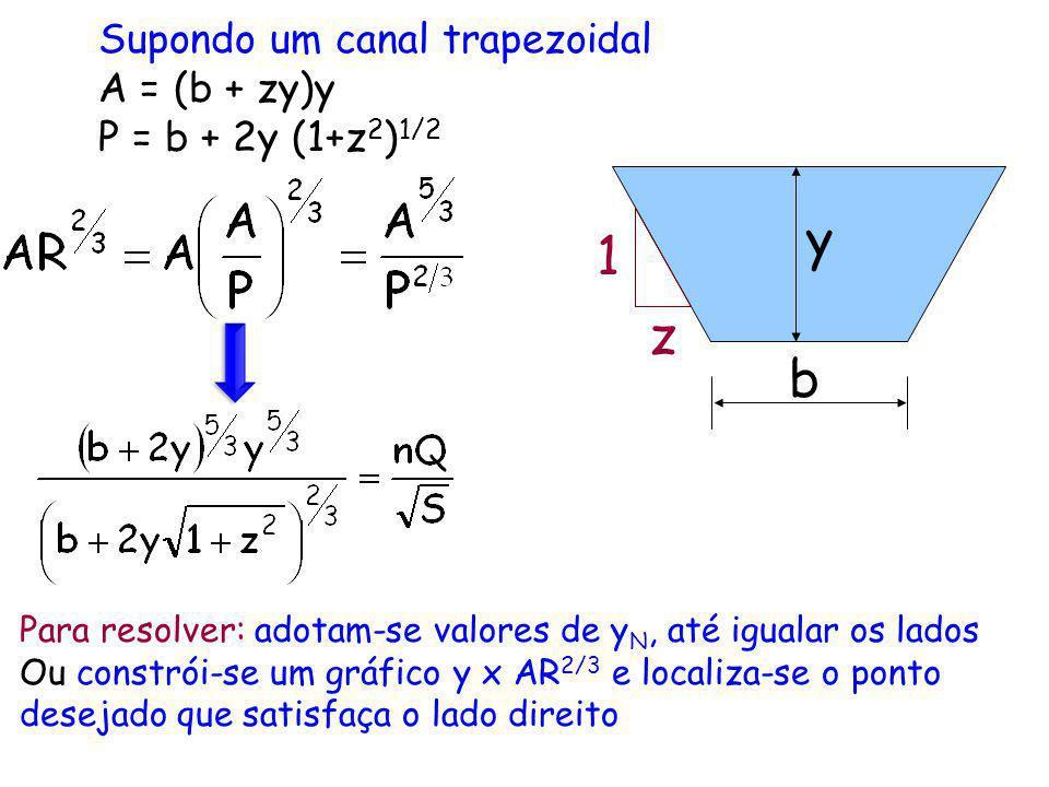 Supondo um canal trapezoidal A = (b + zy)y P = b + 2y (1+z 2 ) 1/2 y b z 1 Para resolver: adotam-se valores de y N, até igualar os lados Ou constrói-s