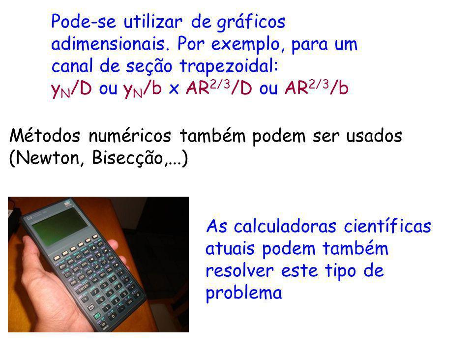 Pode-se utilizar de gráficos adimensionais. Por exemplo, para um canal de seção trapezoidal: y N /D ou y N /b x AR 2/3 /D ou AR 2/3 /b Métodos numéric