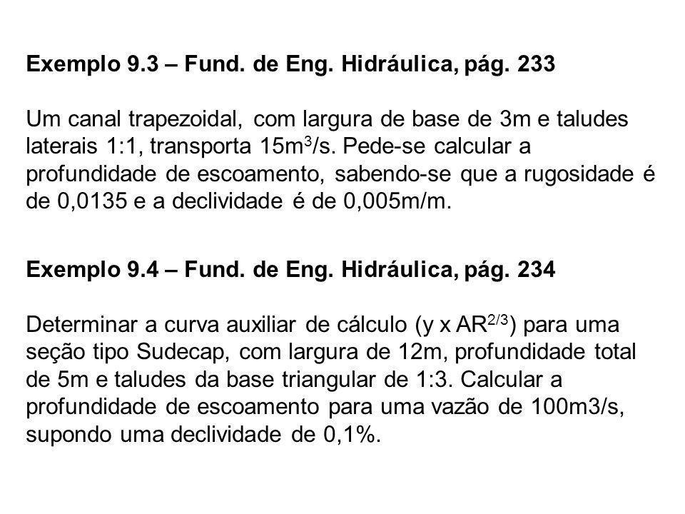 Exemplo 9.3 – Fund. de Eng. Hidráulica, pág. 233 Um canal trapezoidal, com largura de base de 3m e taludes laterais 1:1, transporta 15m 3 /s. Pede-se