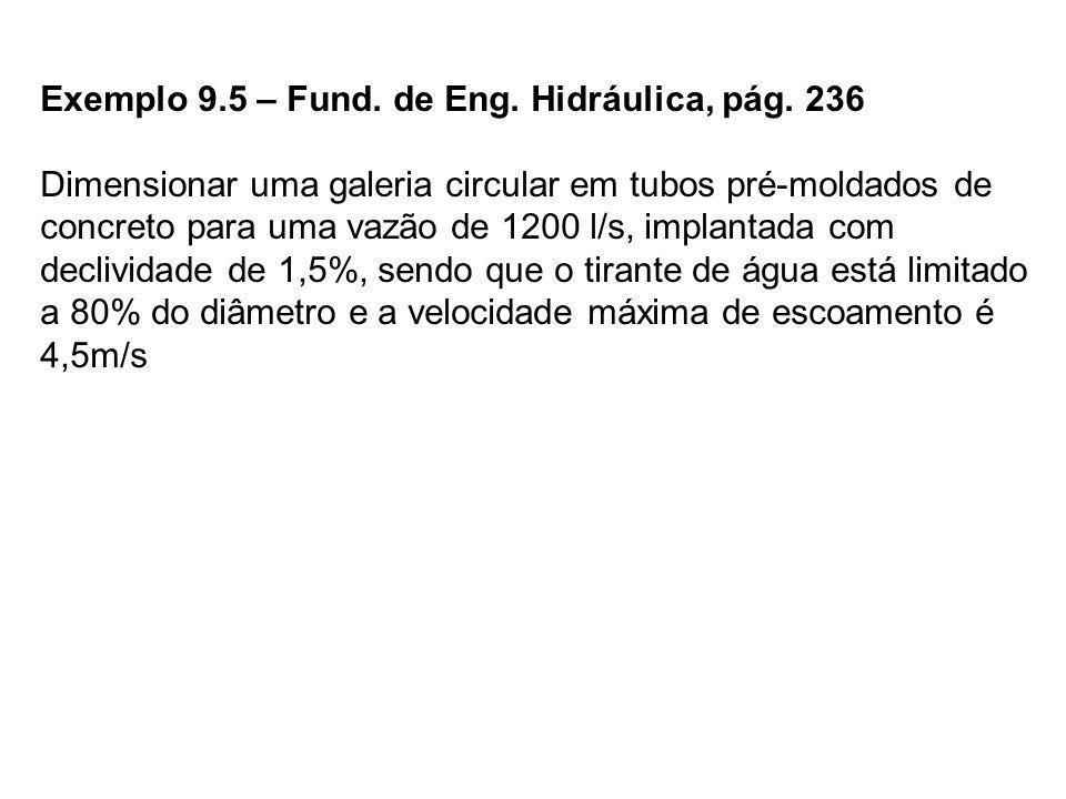 Exemplo 9.5 – Fund. de Eng. Hidráulica, pág. 236 Dimensionar uma galeria circular em tubos pré-moldados de concreto para uma vazão de 1200 l/s, implan