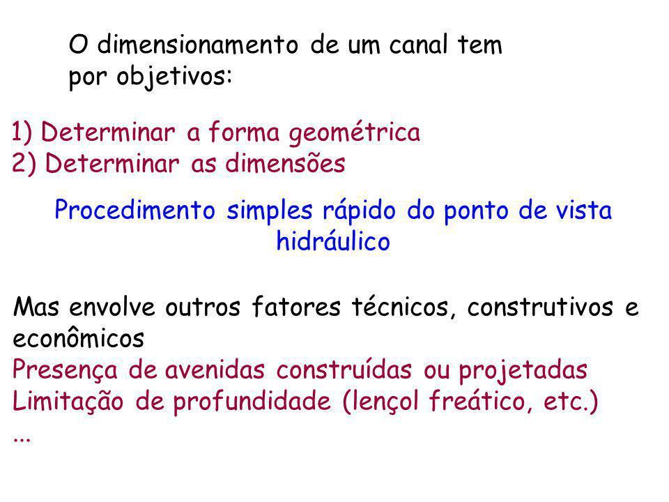 1) Determinar a forma geométrica 2) Determinar as dimensões Procedimento simples rápido do ponto de vista hidráulico O dimensionamento de um canal tem