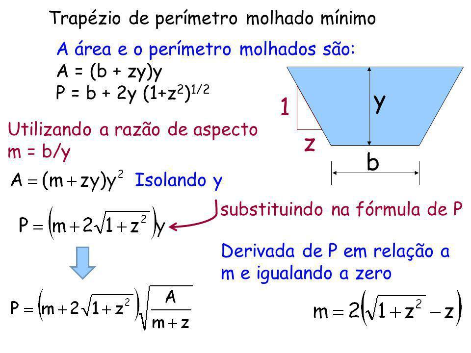 A área e o perímetro molhados são: A = (b + zy)y P = b + 2y (1+z 2 ) 1/2 y b z 1 Utilizando a razão de aspecto m = b/y Trapézio de perímetro molhado m