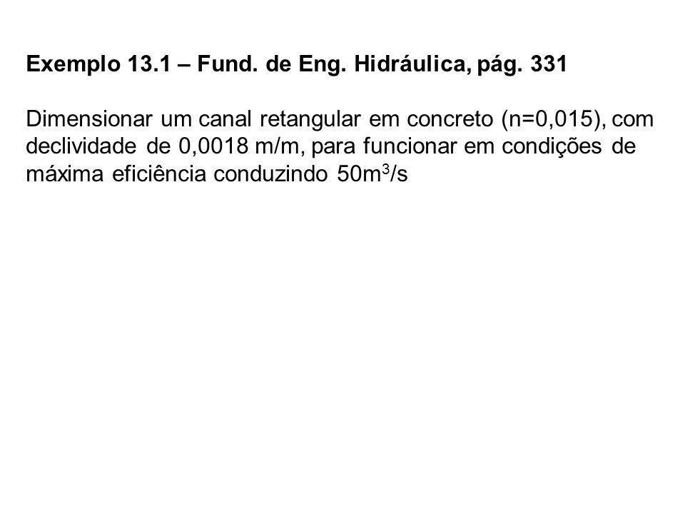 Exemplo 13.1 – Fund. de Eng. Hidráulica, pág. 331 Dimensionar um canal retangular em concreto (n=0,015), com declividade de 0,0018 m/m, para funcionar