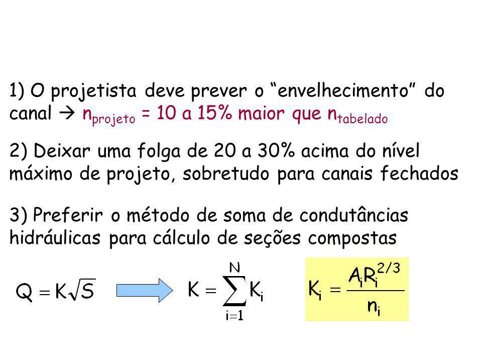 1) O projetista deve prever o envelhecimento do canal n projeto = 10 a 15% maior que n tabelado 2) Deixar uma folga de 20 a 30% acima do nível máximo