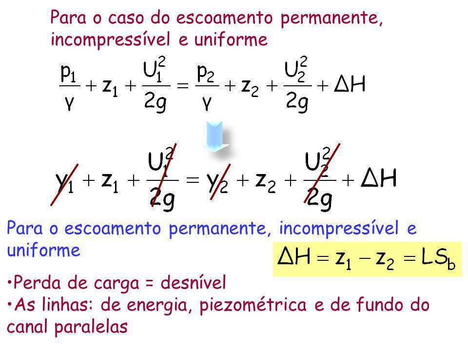 A área e o perímetro molhados são: A = (b + zy)y P = b + 2y (1+z 2 ) 1/2 y b z 1 Utilizando a razão de aspecto m = b/y Trapézio de perímetro molhado mínimo Derivada de P em relação a m e igualando a zero substituindo na fórmula de P Isolando y