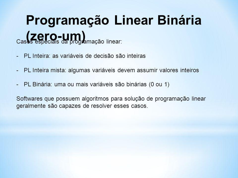 Programação Linear Binária (zero-um) Casos especiais da programação linear: -PL Inteira: as variáveis de decisão são inteiras -PL Inteira mista: algumas variáveis devem assumir valores inteiros -PL Binária: uma ou mais variáveis são binárias (0 ou 1) Softwares que possuem algoritmos para solução de programação linear geralmente são capazes de resolver esses casos.