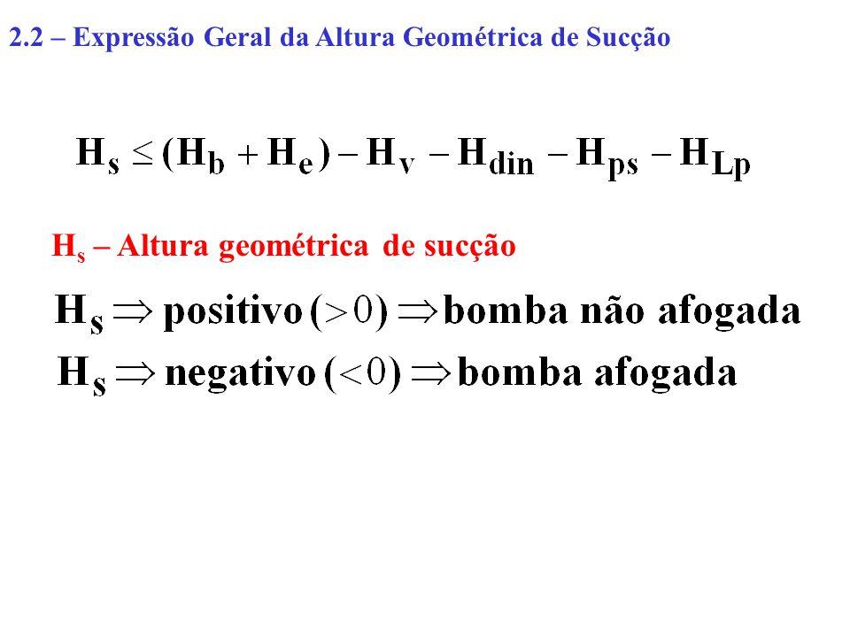 H b [m] = p b /.g – Altura referente a pressão atmosférica local m Altitude local [m] H e [m] = p e /.g – Altura referente a pressão no tanque de sucção (quando houver)