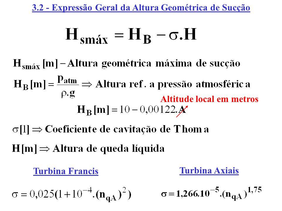 3.2 - Expressão Geral da Altura Geométrica de Sucção Altitude local em metros Turbina Francis Turbina Axiais