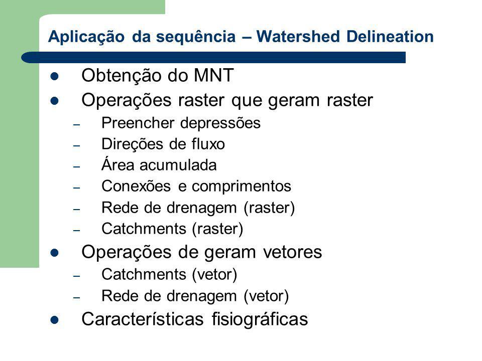 Aplicação da sequência – Watershed Delineation Obtenção do MNT Operações raster que geram raster – Preencher depressões – Direções de fluxo – Área acumulada – Conexões e comprimentos – Rede de drenagem (raster) – Catchments (raster) Operações de geram vetores – Catchments (vetor) – Rede de drenagem (vetor) Características fisiográficas