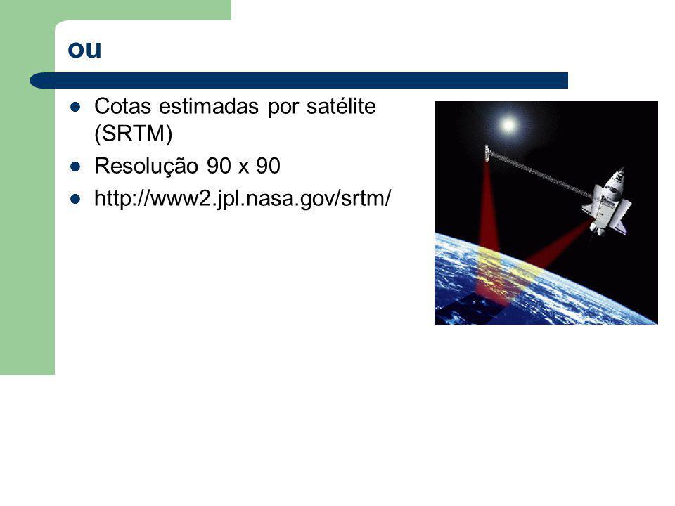 ou Cotas estimadas por satélite (SRTM) Resolução 90 x 90 http://www2.jpl.nasa.gov/srtm/