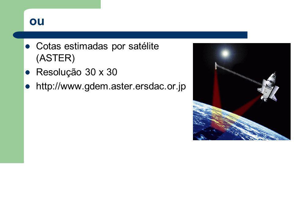 ou Cotas estimadas por satélite (ASTER) Resolução 30 x 30 http://www.gdem.aster.ersdac.or.jp