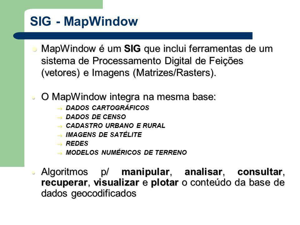 MapWindowé um SIG que inclui ferramentas de um sistema de Processamento Digital de Feições (vetores) e Imagens (Matrizes/Rasters).
