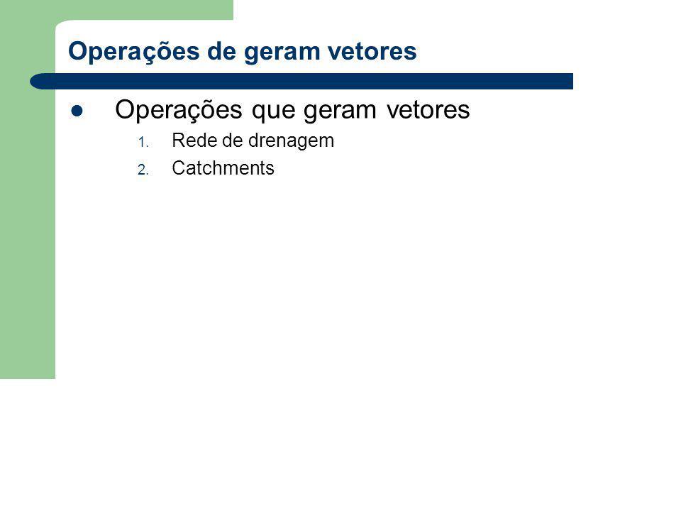 Operações de geram vetores Operações que geram vetores 1. Rede de drenagem 2. Catchments