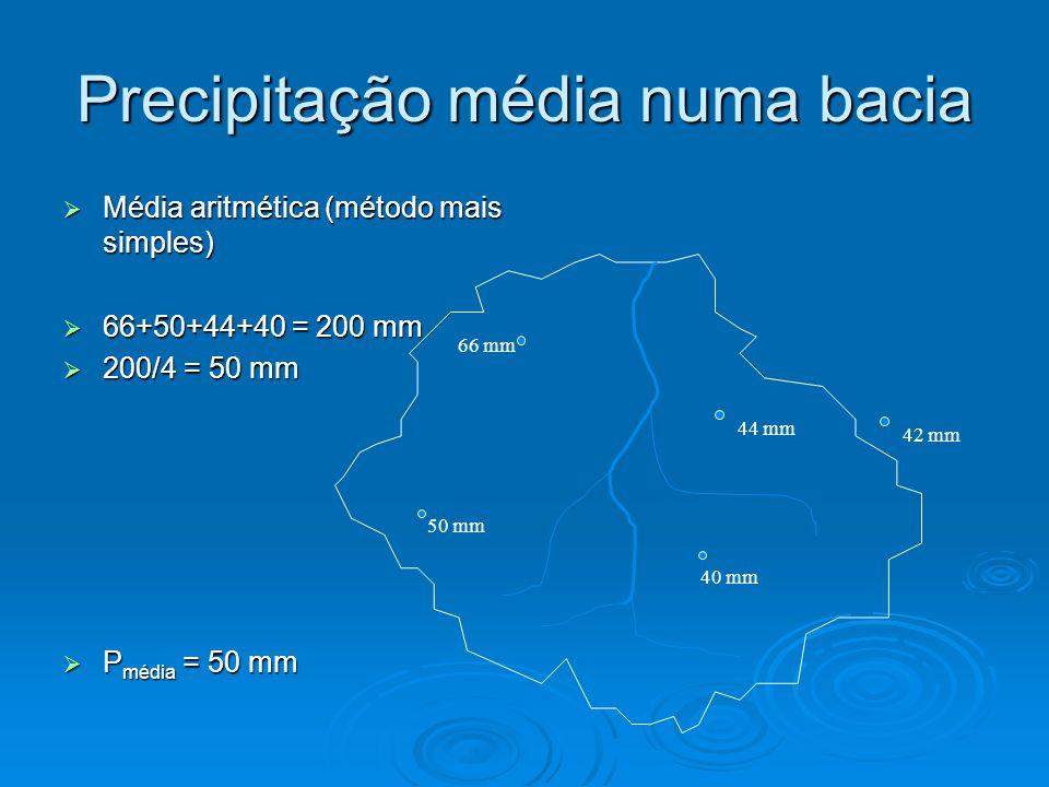 Precipitação média numa bacia Média aritmética (método mais simples) Média aritmética (método mais simples) 66+50+44+40 = 200 mm 66+50+44+40 = 200 mm