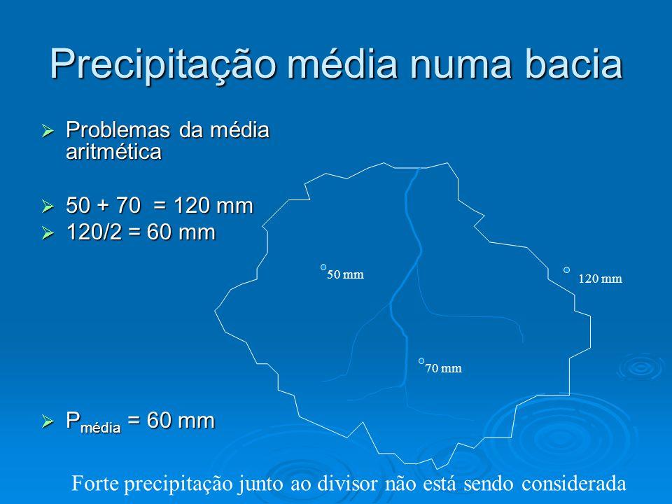 Precipitação média numa bacia Problemas da média aritmética Problemas da média aritmética 50 + 70 = 120 mm 50 + 70 = 120 mm 120/2 = 60 mm 120/2 = 60 m