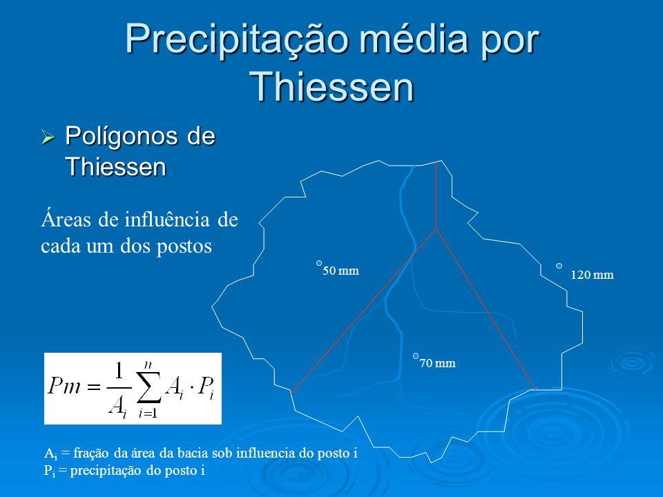 Precipitação média por Thiessen Polígonos de Thiessen Polígonos de Thiessen 50 mm 120 mm 70 mm Áreas de influência de cada um dos postos A i = fração