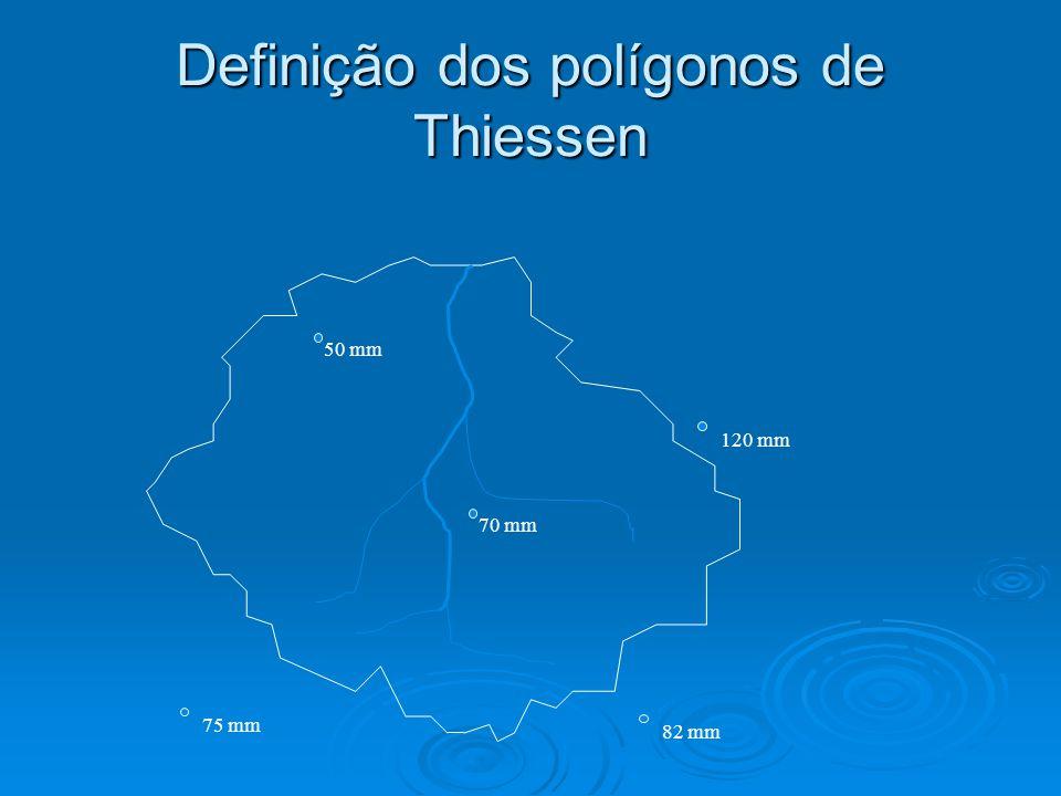 Definição dos polígonos de Thiessen 50 mm 120 mm 70 mm 82 mm 75 mm