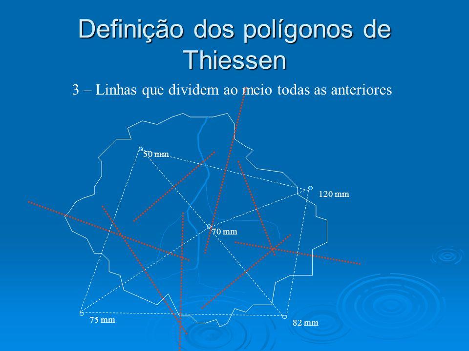 Definição dos polígonos de Thiessen 50 mm 120 mm 70 mm 75 mm 3 – Linhas que dividem ao meio todas as anteriores 82 mm