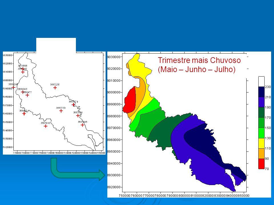 Trimestre mais Chuvoso (Maio – Junho – Julho) Postos Isoietas