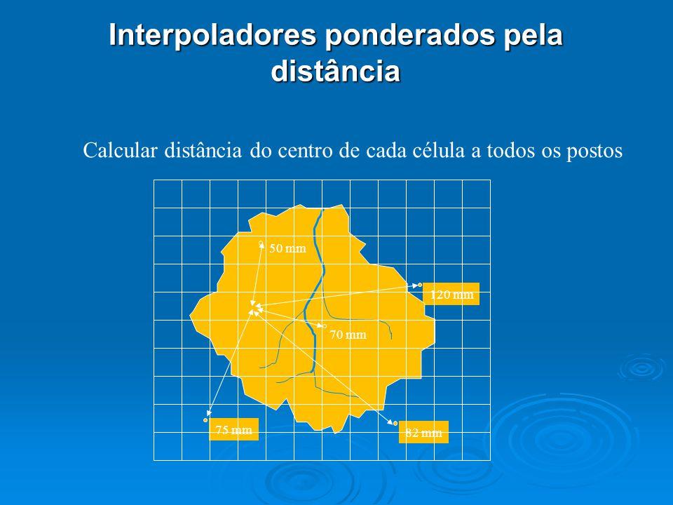 120 mm 70 mm 82 mm 75 mm Calcular distância do centro de cada célula a todos os postos Interpoladores ponderados pela distância 50 mm