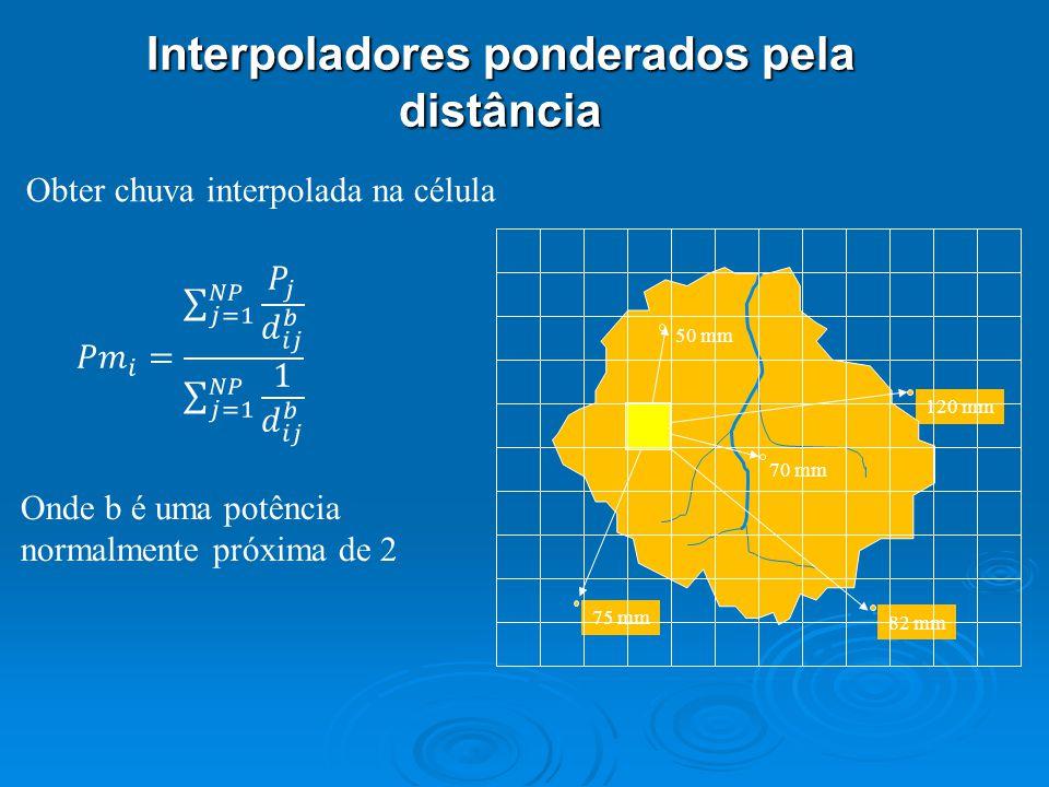 120 mm 70 mm 82 mm 75 mm Obter chuva interpolada na célula Onde b é uma potência normalmente próxima de 2 Interpoladores ponderados pela distância 50