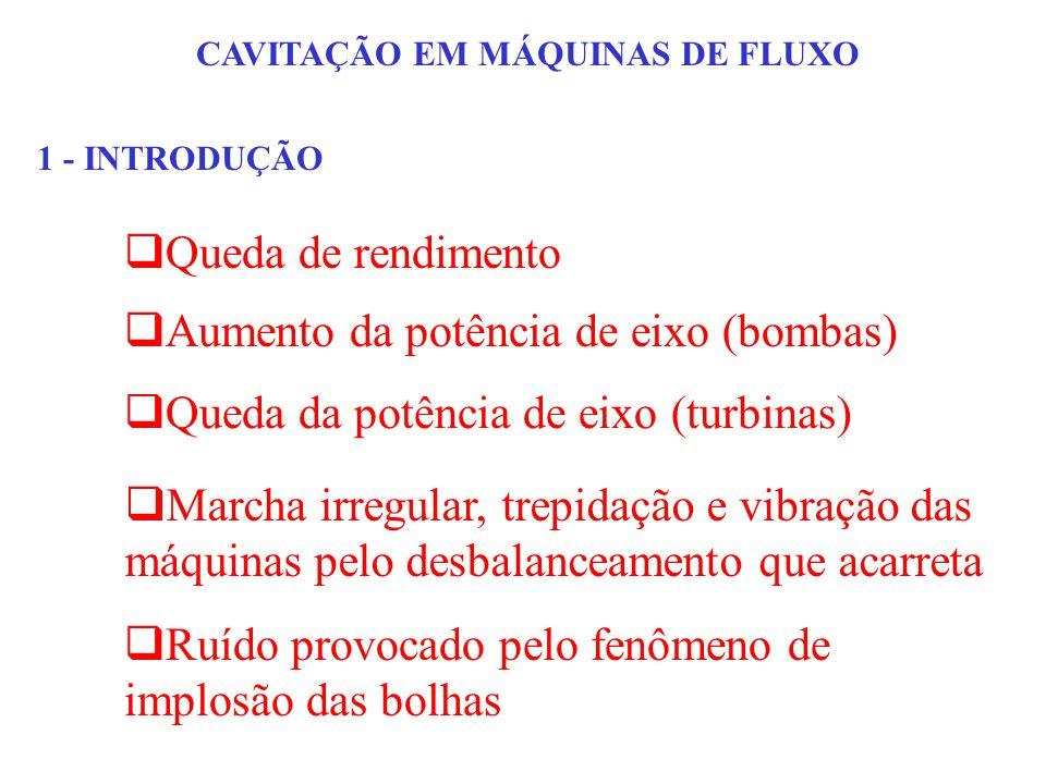 CAVITAÇÃO EM MÁQUINAS DE FLUXO 1 - INTRODUÇÃO Queda de rendimento Aumento da potência de eixo (bombas) Marcha irregular, trepidação e vibração das máq
