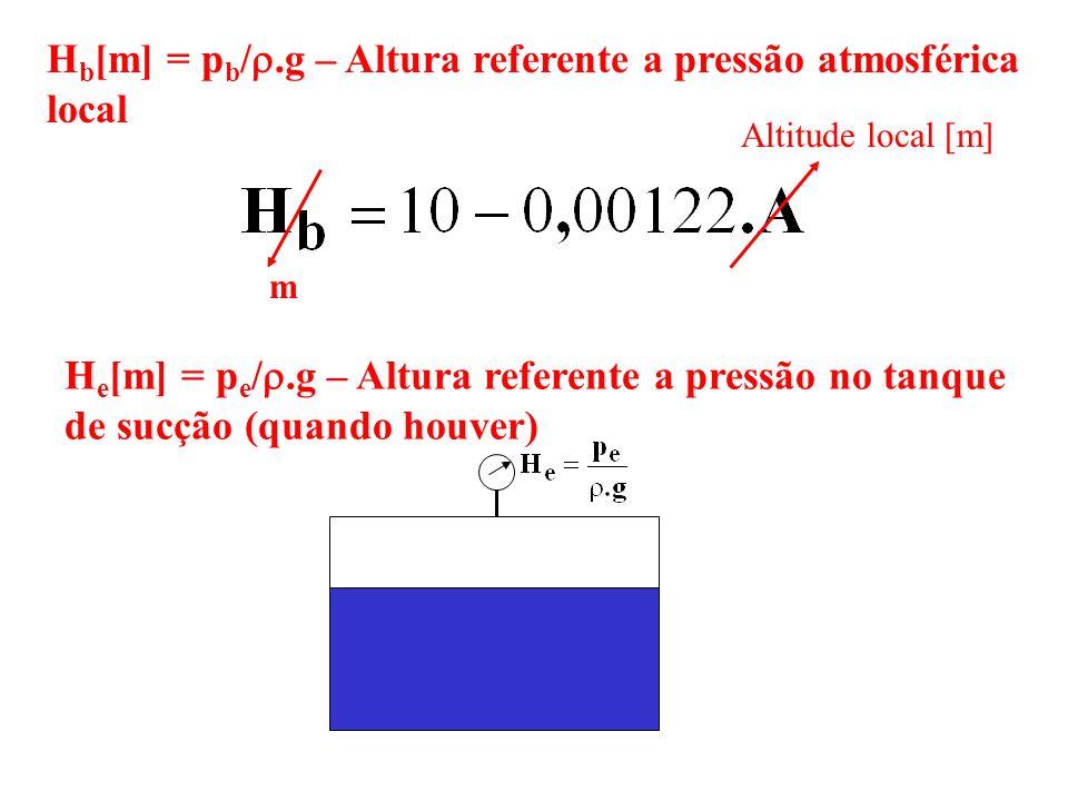 H b [m] = p b /.g – Altura referente a pressão atmosférica local m Altitude local [m] H e [m] = p e /.g – Altura referente a pressão no tanque de sucç