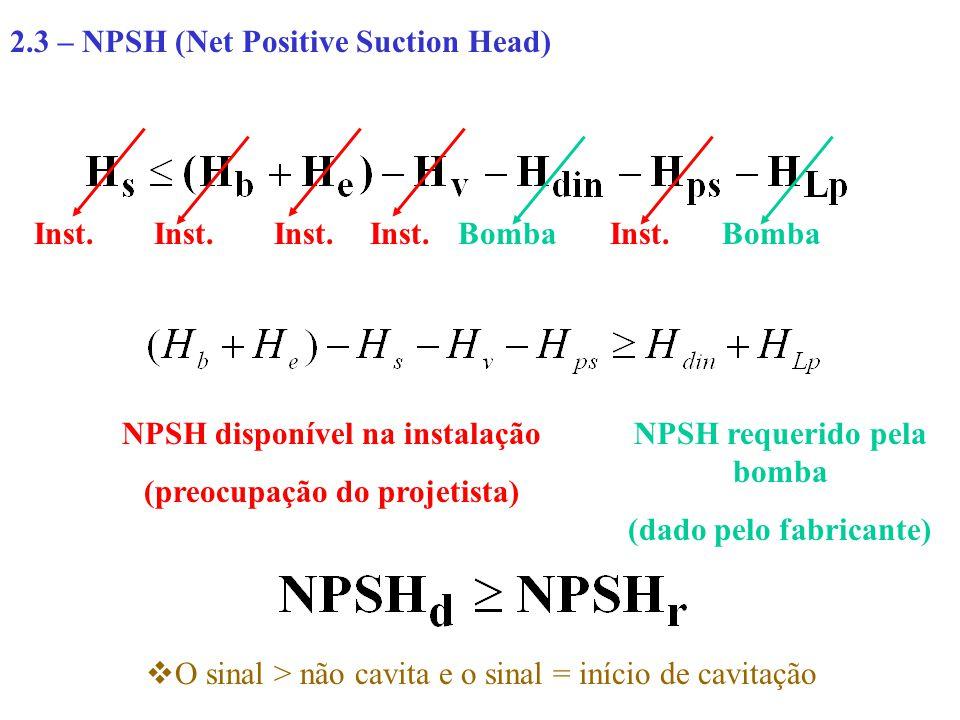 2.3 – NPSH (Net Positive Suction Head) Inst. Bomba NPSH disponível na instalação (preocupação do projetista) NPSH requerido pela bomba (dado pelo fabr