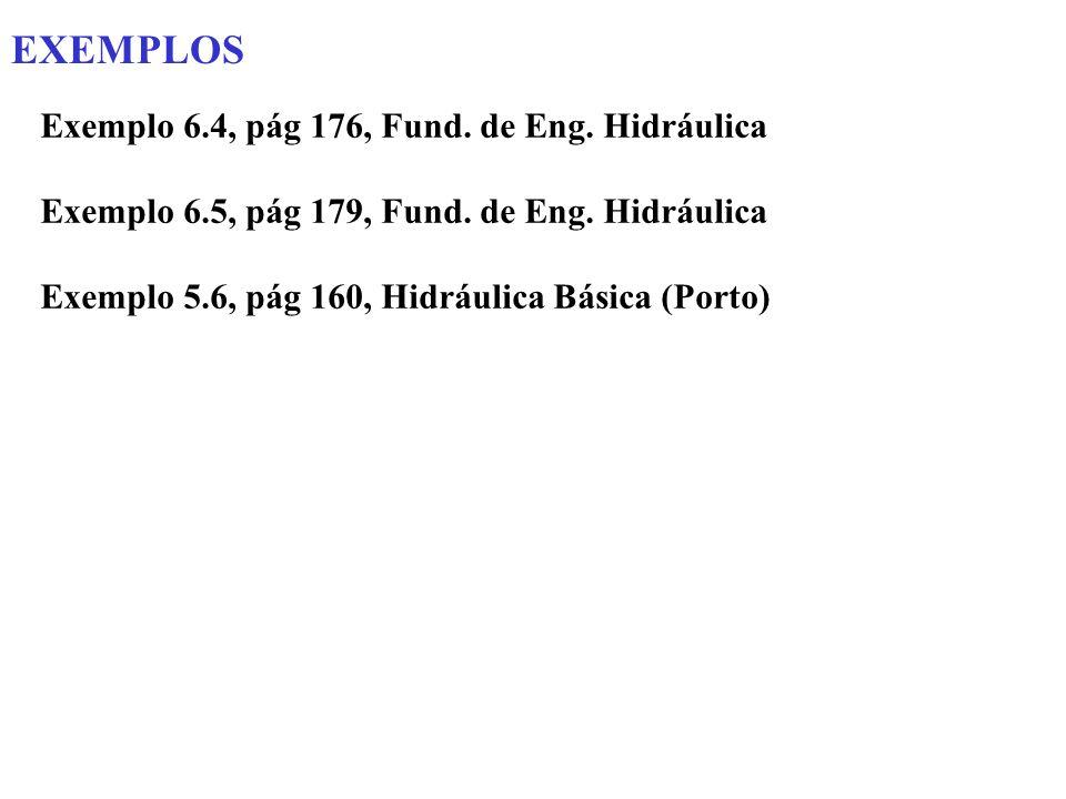 EXEMPLOS Exemplo 6.4, pág 176, Fund. de Eng. Hidráulica Exemplo 6.5, pág 179, Fund. de Eng. Hidráulica Exemplo 5.6, pág 160, Hidráulica Básica (Porto)