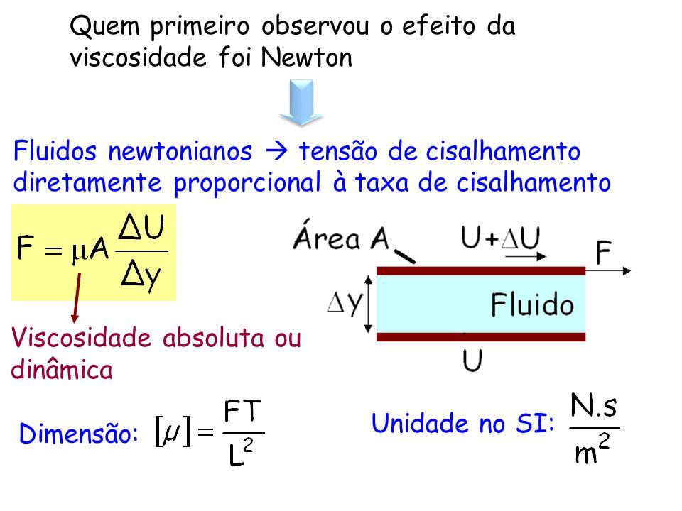 Quem primeiro observou o efeito da viscosidade foi Newton Fluidos newtonianos tensão de cisalhamento diretamente proporcional à taxa de cisalhamento V