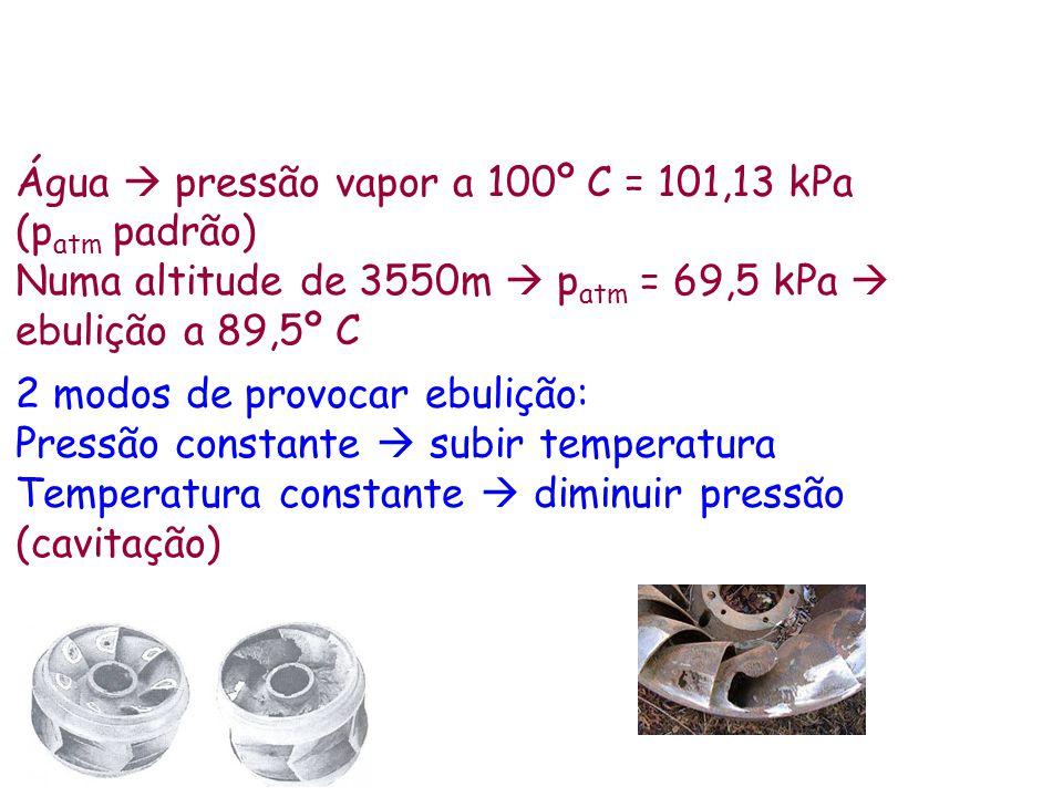 Água pressão vapor a 100º C = 101,13 kPa (p atm padrão) Numa altitude de 3550m p atm = 69,5 kPa ebulição a 89,5º C 2 modos de provocar ebulição: Press