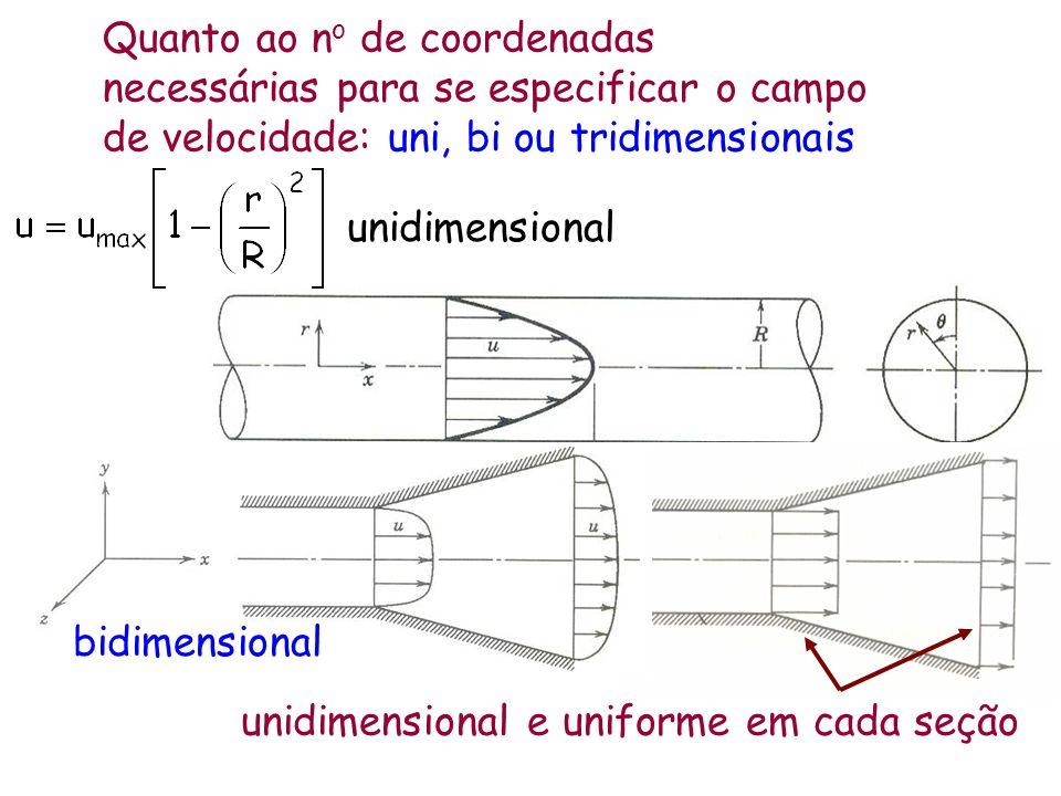 Quanto ao n o de coordenadas necessárias para se especificar o campo de velocidade: uni, bi ou tridimensionais unidimensional unidimensional e uniform