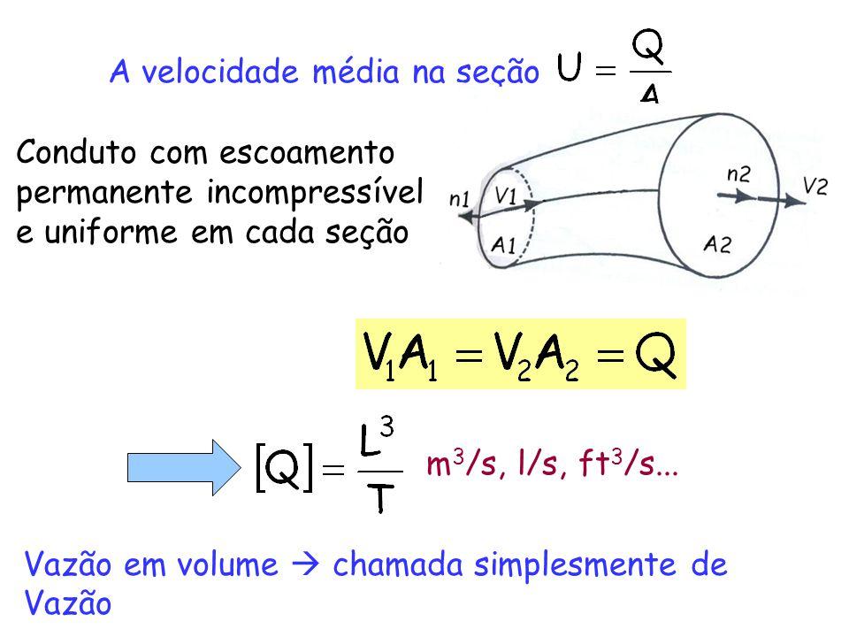 A velocidade média na seção Conduto com escoamento permanente incompressível e uniforme em cada seção m 3 /s, l/s, ft 3 /s... Vazão em volume chamada