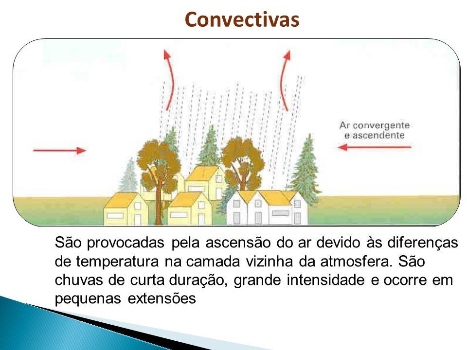 Convectivas São provocadas pela ascensão do ar devido às diferenças de temperatura na camada vizinha da atmosfera. São chuvas de curta duração, grande