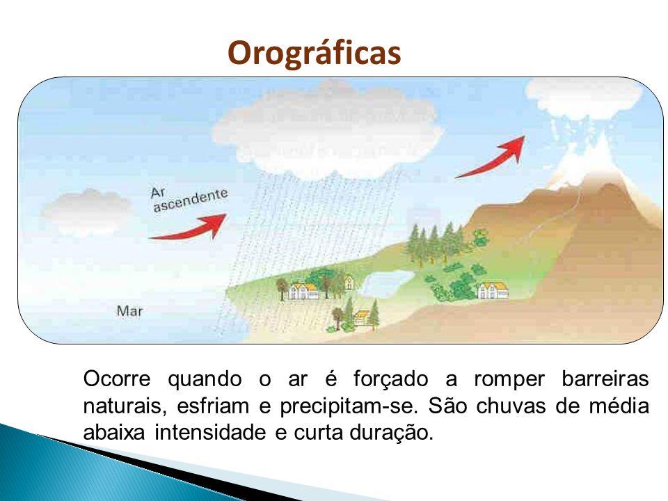 Orográficas Ocorre quando o ar é forçado a romper barreiras naturais, esfriam e precipitam-se. São chuvas de média abaixa intensidade e curta duração.