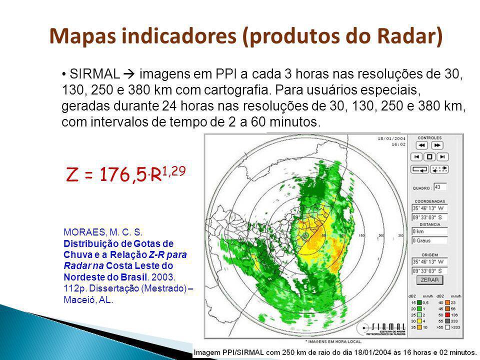 Mapas indicadores (produtos do Radar) SIRMAL imagens em PPI a cada 3 horas nas resoluções de 30, 130, 250 e 380 km com cartografia. Para usuários espe
