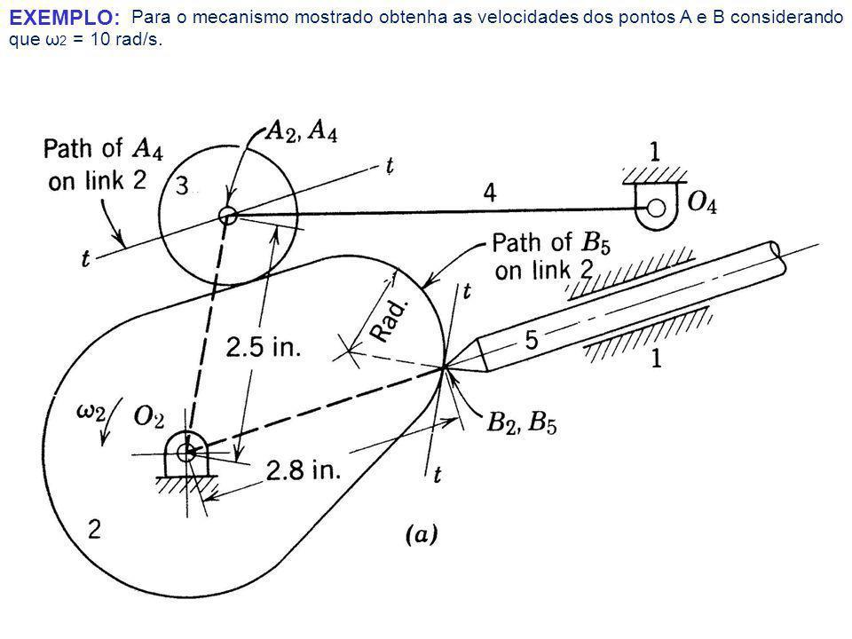 Para o mecanismo mostrado obtenha as velocidades dos pontos A e B considerando que ω 2 = 10 rad/s.