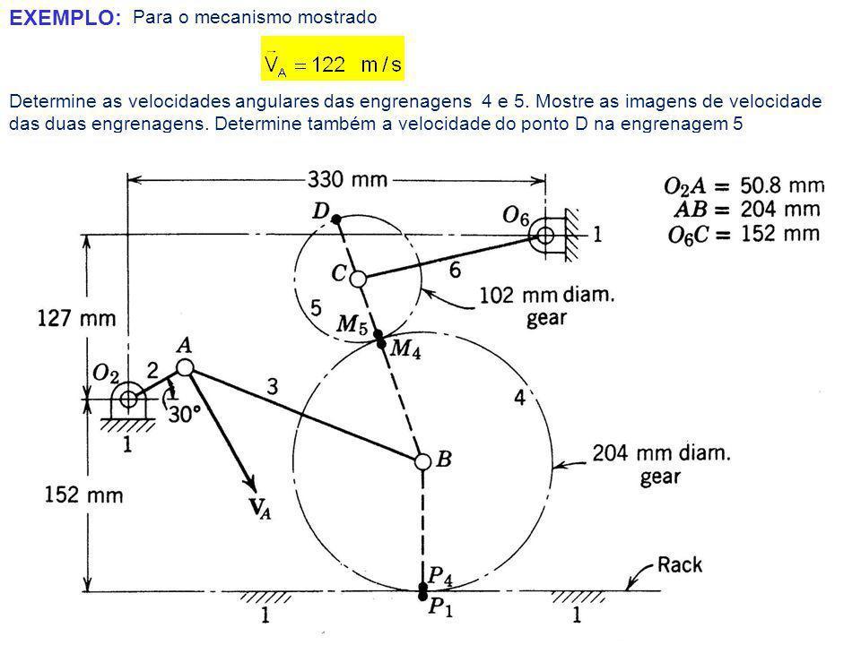 Para o mecanismo mostrado EXEMPLO: Determine as velocidades angulares das engrenagens 4 e 5.