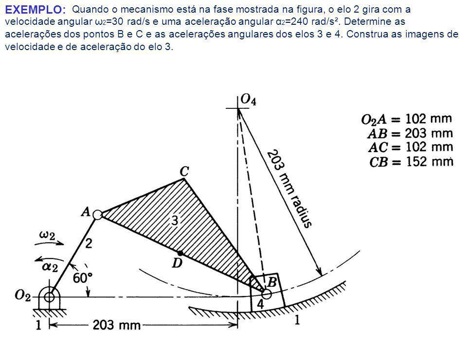 Quando o mecanismo está na fase mostrada na figura, o elo 2 gira com a velocidade angular ω 2 =30 rad/s e uma aceleração angular α 2 =240 rad/s².