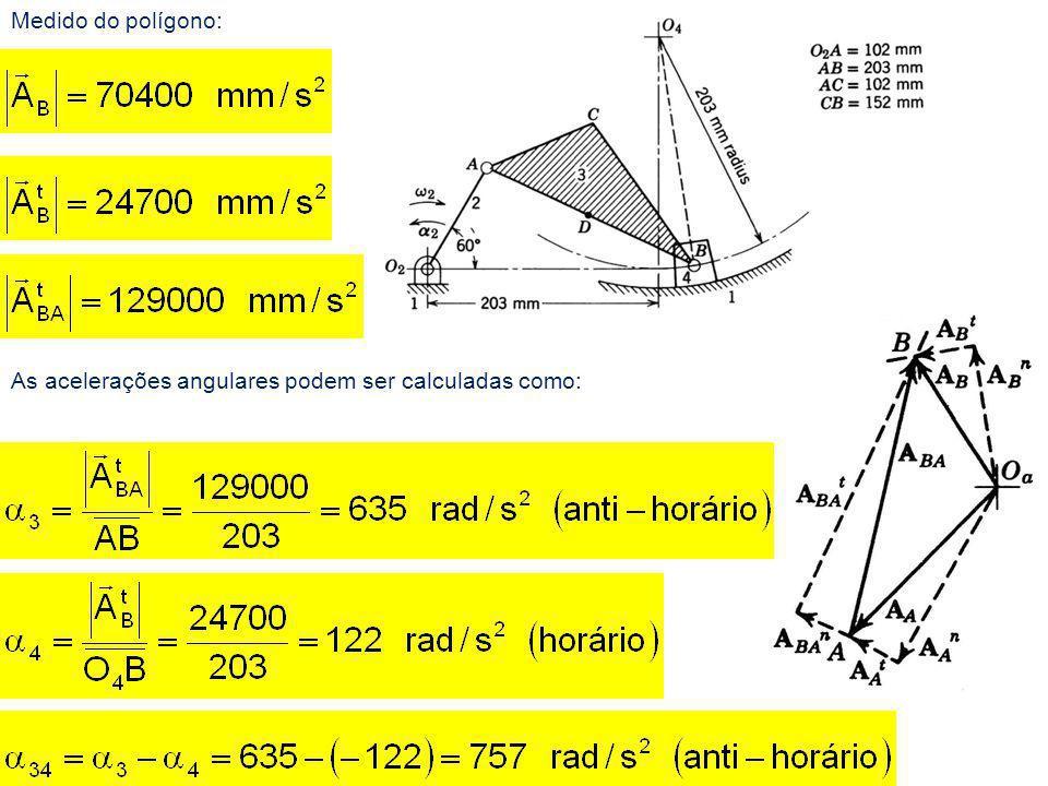 As acelerações angulares podem ser calculadas como:
