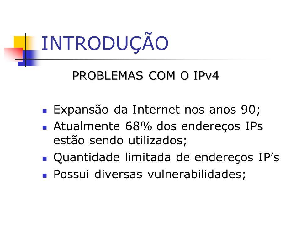 INTRODUÇÃO PROBLEMAS COM O IPv4 Expansão da Internet nos anos 90; Atualmente 68% dos endereços IPs estão sendo utilizados; Quantidade limitada de ende