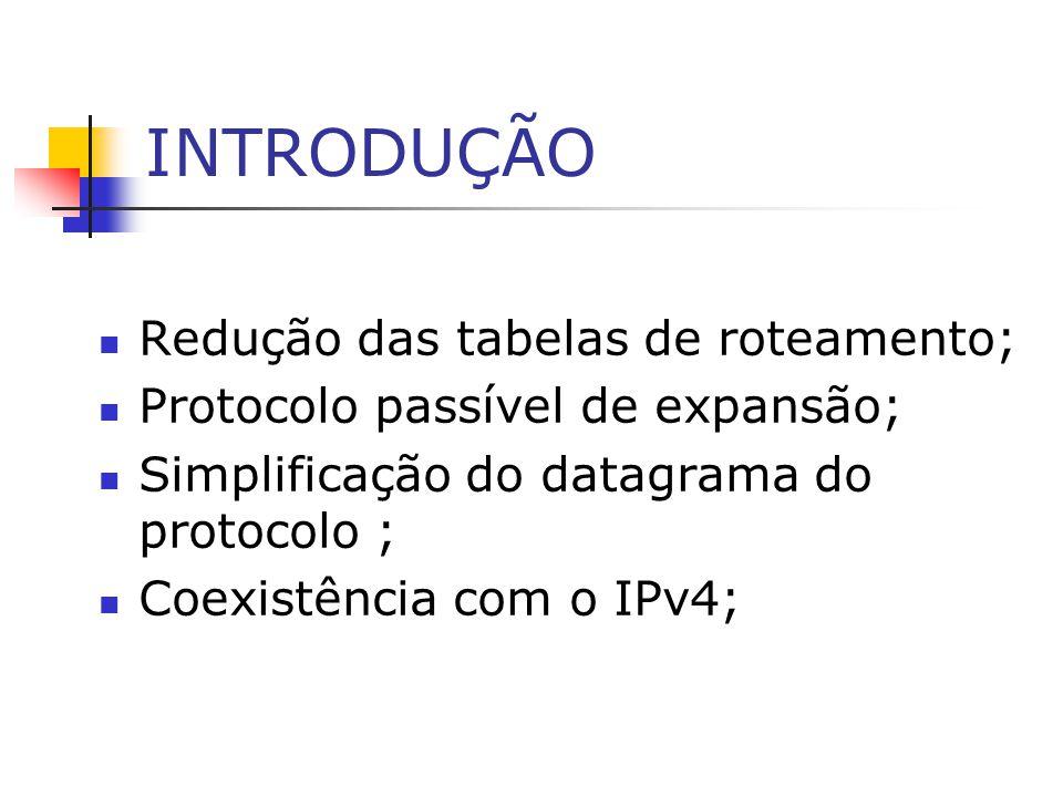 INTRODUÇÃO Redução das tabelas de roteamento; Protocolo passível de expansão; Simplificação do datagrama do protocolo ; Coexistência com o IPv4;